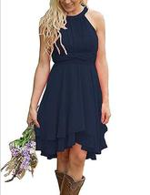 Navy  Blue Chiffon Ruffle Short Bridesmaid Dress Strapless Prom Party Gown - $62.44
