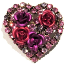 Heart Rose Pin Brooch Pink Purple Red Multicolor Crystal Valentine's Day Love - $24.99