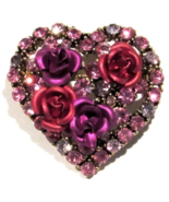 Heart Rose Pin Brooch Pink Purple Red Multicolor Crystal Valentine's Day... - $24.99