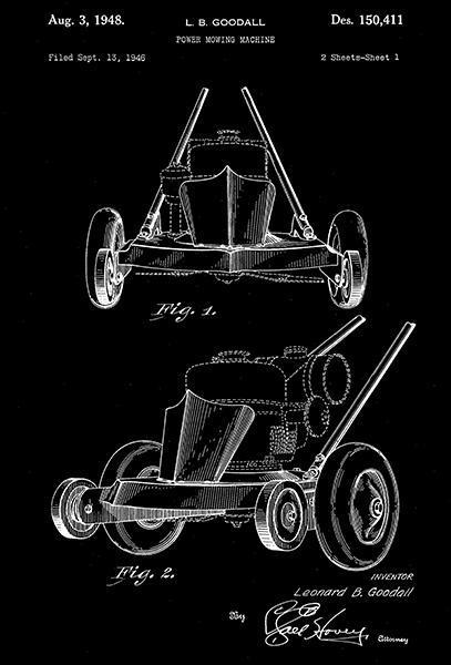 1948 - Power Mowing Machine - L. B. Goodall - Patent Art Poster - $9.99 - $64.99