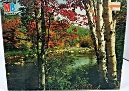 "Swift River New Hampshire 1000 Piece Jigsaw Puzzle 20"" x 26"" MB Fall Autumn - $5.94"