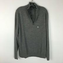 Express NWT Men's Gray Extra Fine Merino Wool Half Zip Sweater Size Large - $9.89