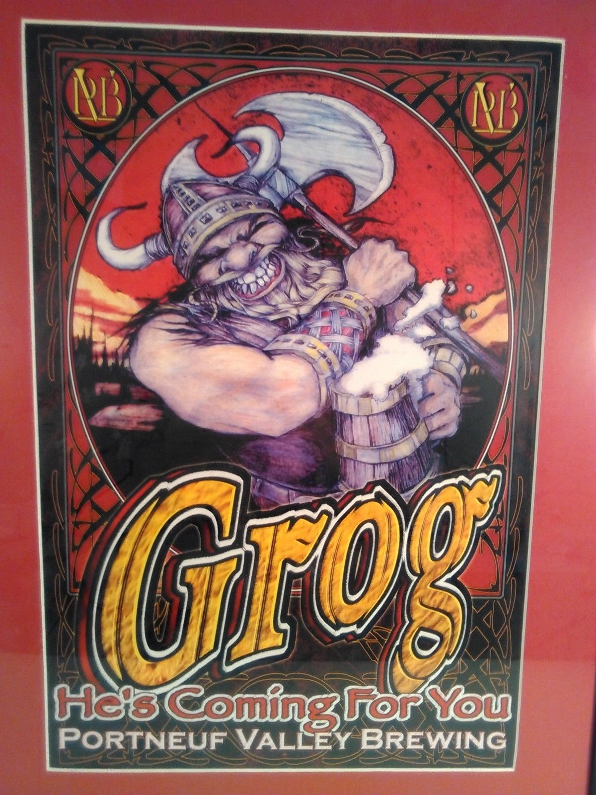 "GROG PORTNEUF VALLEY BREWING CO. BEER SIGN WALL ART PRINT FRAMED 22.5"" X 18.5"""