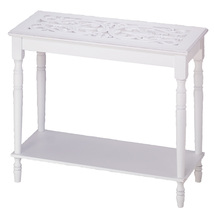 Table Long, Wood Stand Foot Tall Long End Table White - $101.41