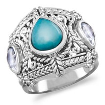 Blue Topaz and Reconstituted Turquoise Ring - $47.97