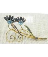 Van Dell 12k Gold Filled on Sterling Blue Rhinestone Flower Pin Brooch V... - $24.74