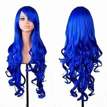 "32"" Long Hair Heat Resistant Spiral Curly Cosplay Wig Dark Blue - $9.67"