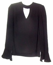 About a Girl Black Sheer Keyhole Blouse with Bell Sleeves NWT$36 Sz M  - $28.49