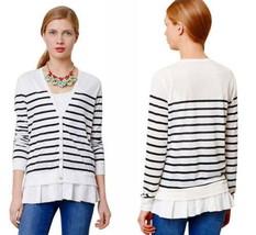 Anthropologie Striped Flutter Cardigan Large 10 12 Black White Sweater Preppy - $41.30