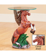 Western Horse Sculpture Accent Table with Glass Top - Unique Home Décor - $57.41