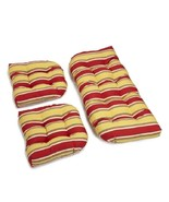 Outdoor All Weather 3pc Wicker Settee Chair CUSHION SET Red Yellow Stripe - $117.12