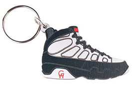 Good Wood NYC 9 Nine Sneaker Keychain White/Black 9 Shoe Key Ring key Fob image 1