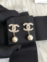 SALE* AUTHENTIC CHANEL 2019 XL CC LOGO PEARL GOLD DANGLE DROP EARRINGS RECEIPT