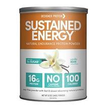Designer Protein Sustained Energy Natural Endurance Protein, Vanilla Bean, 12 Oz