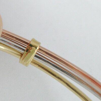 Bracelet Rigide en or Jaune Blanc et Rose 750 18K, Triple, Tris, Canne à Lisser image 5