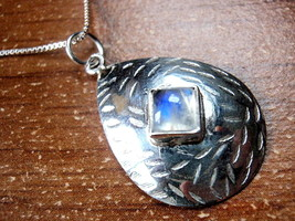 Moonstone Convex Hammered Square on Teardrop Necklace 925 Sterling Silver New - $16.82