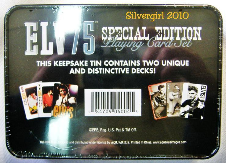 Set Two Collector ELVIS Plastic Playing Card Decks TIN