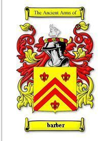 Barber Coat of Arms Barber Family Crest History Print Bonanza