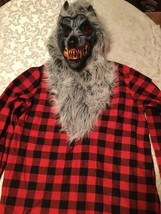 Large 12/14 Amscan Hungry Howler costume top mask red black wolf boys - $24.99