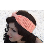 Crochet (Peach) Turban Bow Headband Earwarmer ... - $11.95