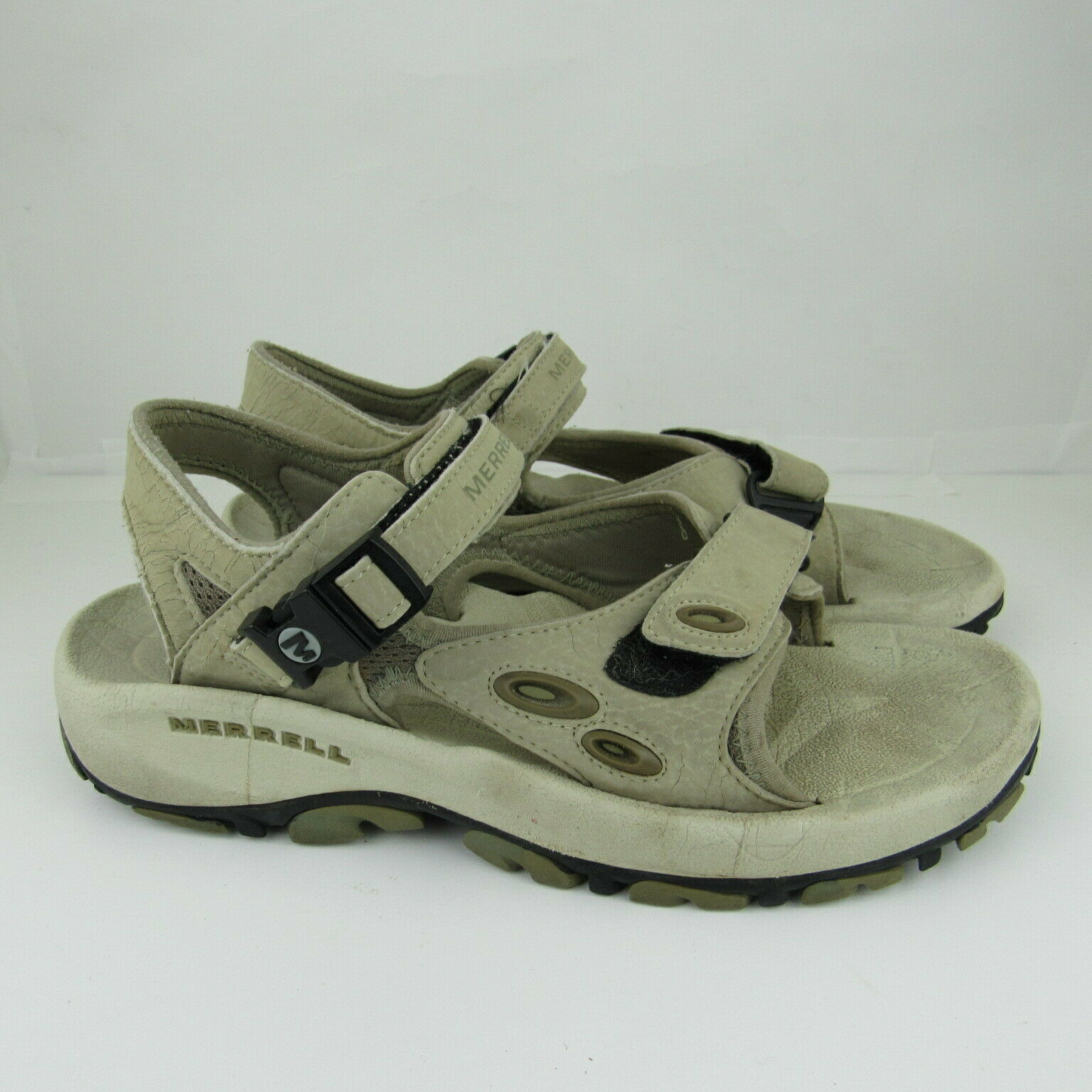 Merrell Mens Gray Trail Sandals Shoes Air Cushion Size 9 M Straps Comfort