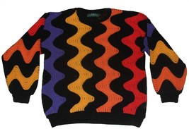 TUNDRA Yellow Orange Red Purple Swirl Waves Black Chenille Sweater Mns L... - $48.99