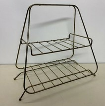 MCM 2 Tier Magazine Rack Book Shelf Plant Stand Brass Tone Ball Feet Vtg... - $24.74