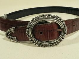 Women's brown black leather belt, reversable silver hardware swivel to m... - $19.62