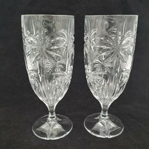 2 Shannon Crystal By Godinger SOUTH BEACH PALM TREE Goblet Glasses Water... - $29.99