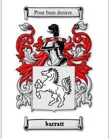 Barratt Coat of Arms Barratt Family Crest History Print Bonanza