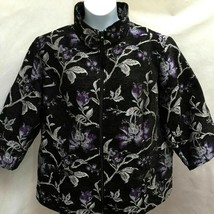 Susan Graver 28W Jacket Purple Black Tapestry Jacquard Floral Zip Plus Size - $23.51