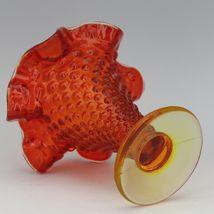 Vintage Fenton Art Glass OR Orange Amberina Hobnail Small Cone Shape Vase image 3