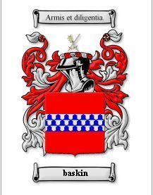 BASKIN Coat of Arms BASKIN Family Crest History Print Bonanza