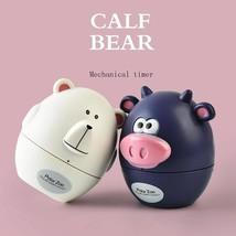 Kitchen Timer Cute Calf Bear Shape Plastic Dial Mechanical Timer Clock 6... - $11.88