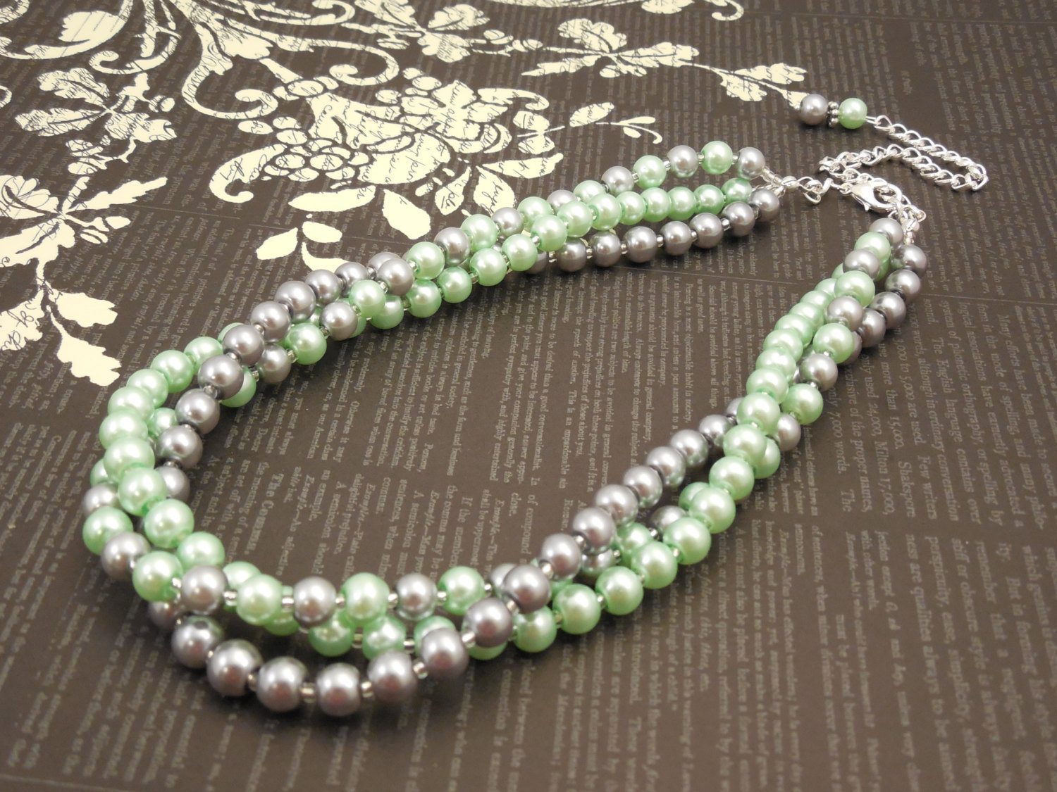 Elegant, Multi Strand Choker Style Necklace with Gray and Mint Green Glass Pearl