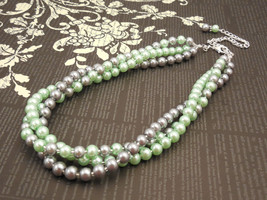 Elegant, Multi Strand Choker Style Necklace with Gray and Mint Green Gla... - £30.44 GBP