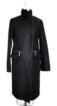 Tory Burch Womens Coat Black Trendy 100% Cotton Knee Length Sz 6 Zip Poc... - $249.00