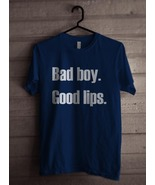 Bad Boy Good Lips Men Tee T-shirt S - 3XL Navy - $18.00+