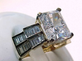 Vintage White Cubic Zirconia Ring in GOLD over STERLING Silver - Size 5 - $85.00