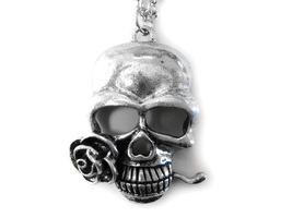 Skull with Rose Pendant Necklace - $18.99
