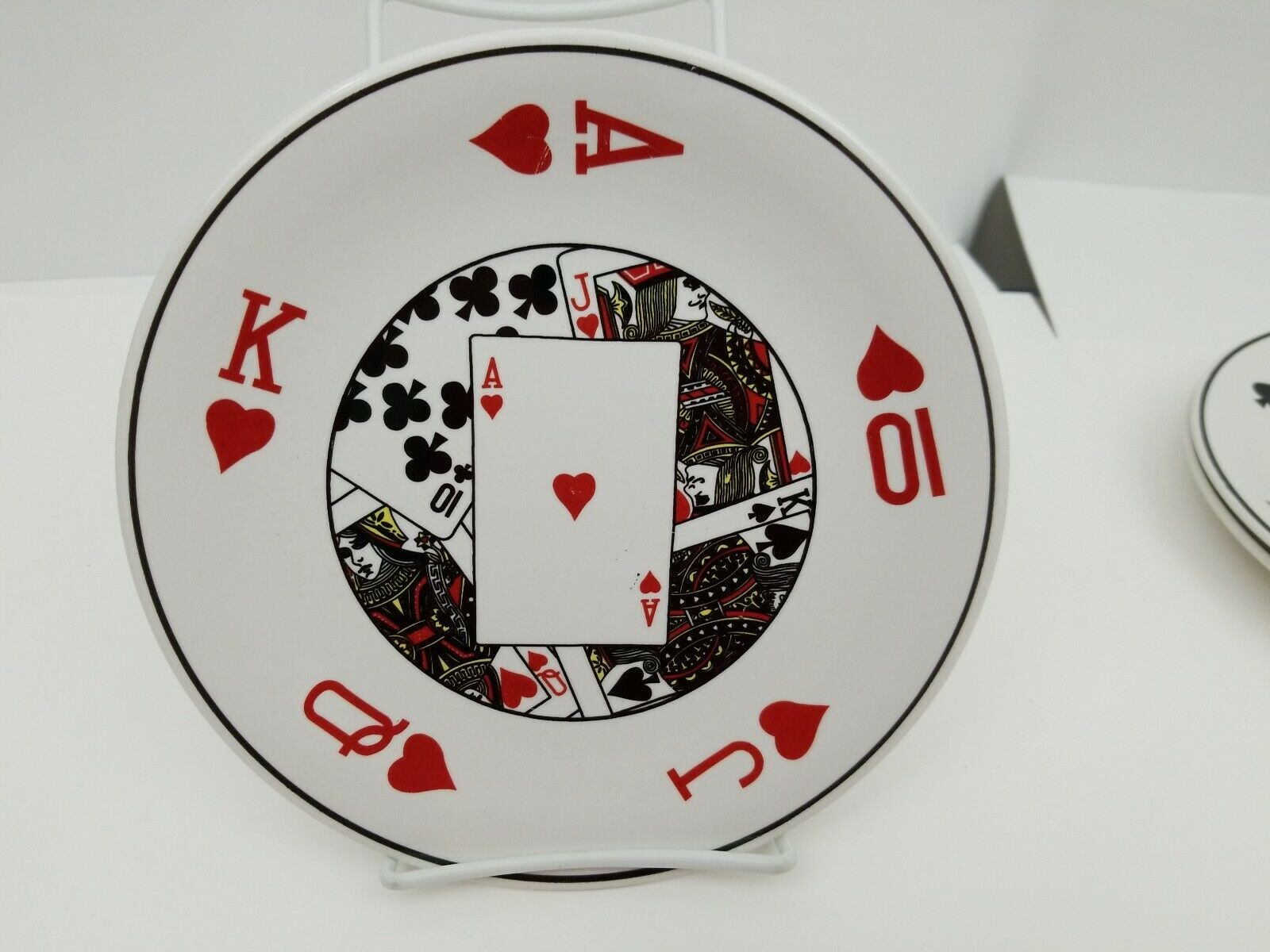 "Playing Cards Snack Plates Set of 4 Side Dessert Bread Dishes 8.25"" NEW 4 Suits image 6"