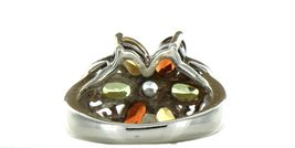 Ladies Size 7.25 Sterling Silver Multi Color Gemstone Fashion Ring No. 2153 image 4