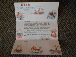 Old Vintage UTAH Tourist & Publicity Council State Capitol Letter Vacay ... - $9.99