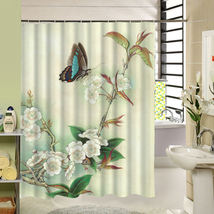 Cute Fabric Bath Curtain Polyester Waterproof 3d Printing Tree Shower Curtain in image 5