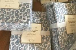 Pottery Barn Teen Leopard Sheet Set Gray Full Animal Print New - $99.00