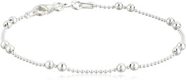 Sterling Silver Tarnish Free Shot Bead Bracelet with Double Bead Station... - $65.79
