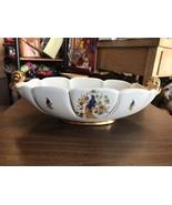 Vintage White Floral Gold Trim Console Abingdon USA Pottery Centerpiece ... - $30.09