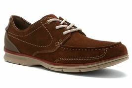 New Clarks Men's Rattlin Deck Casual Leather Shoes Walnut Size 13 - $88.10