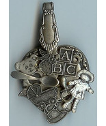 Baby Spoon Heart Charm Pin Brooch Antique Silver Finish Steampunk Handmade - $15.95