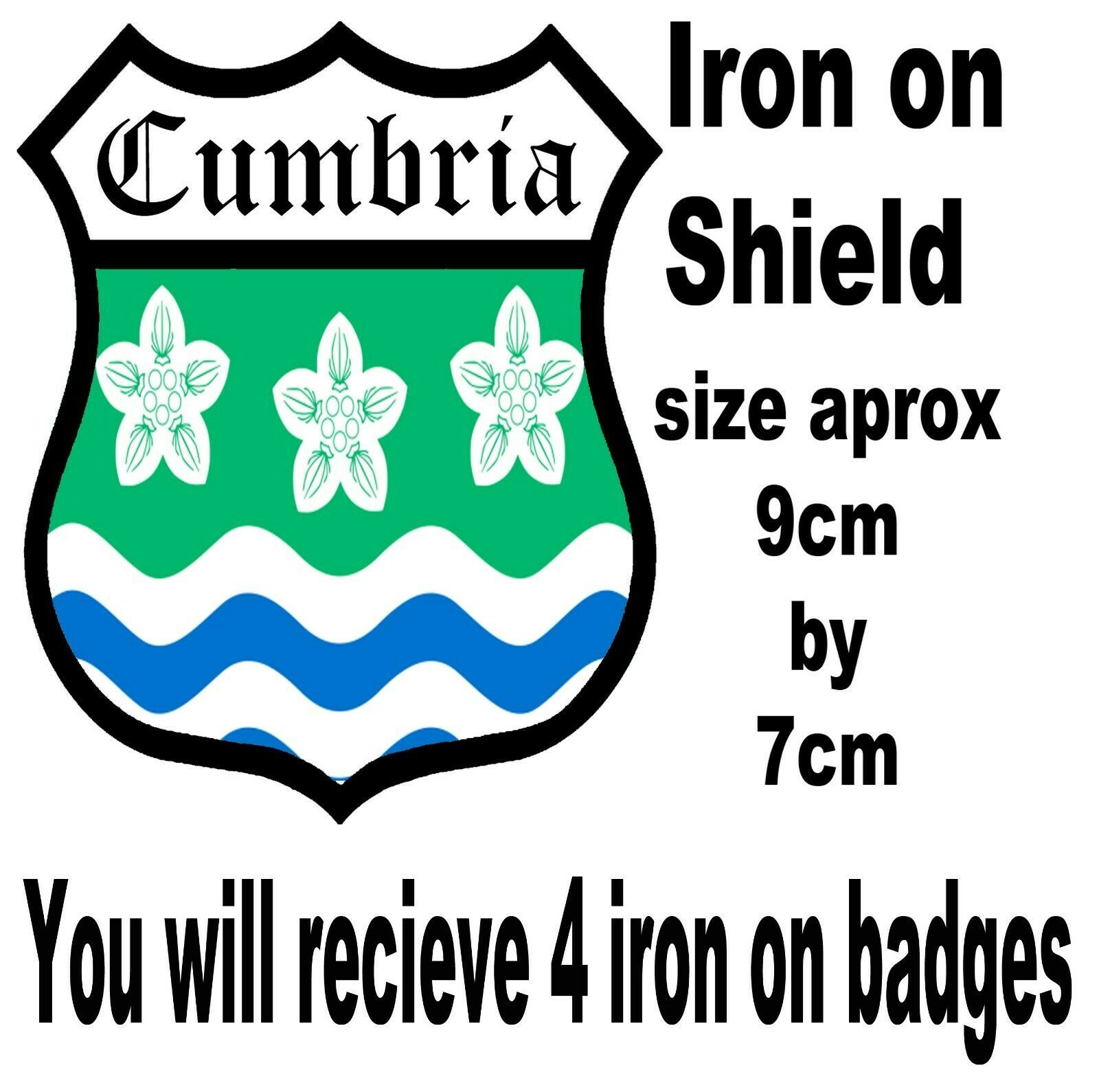 Cumbria t shirt iron on badge or stickers
